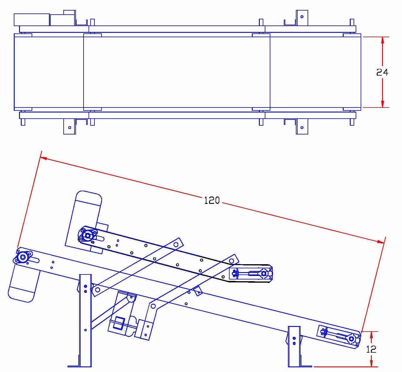 JEM BF-10 Bag Flattening Incline Conveyor