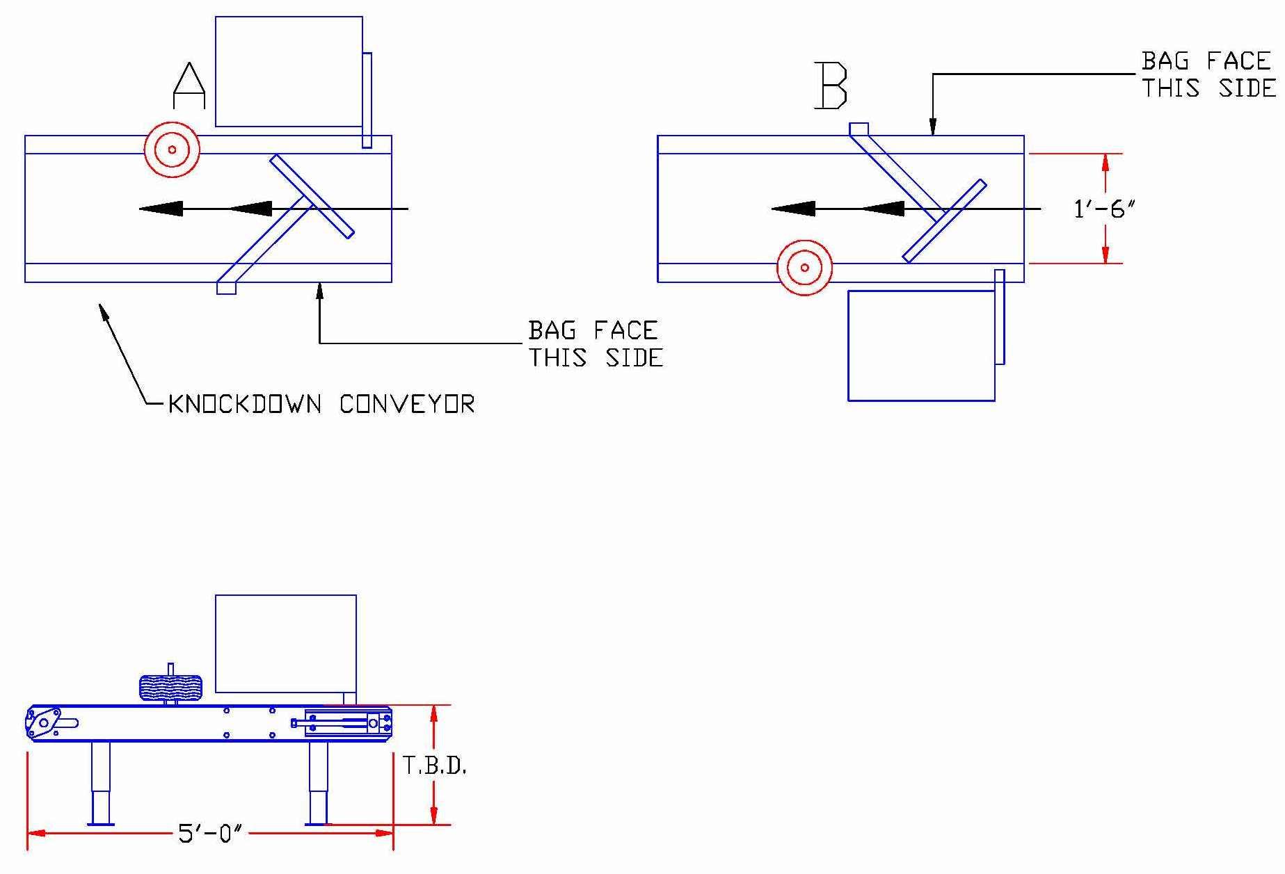 JEM KD5 Bag Knockdown/Turning Conveyor